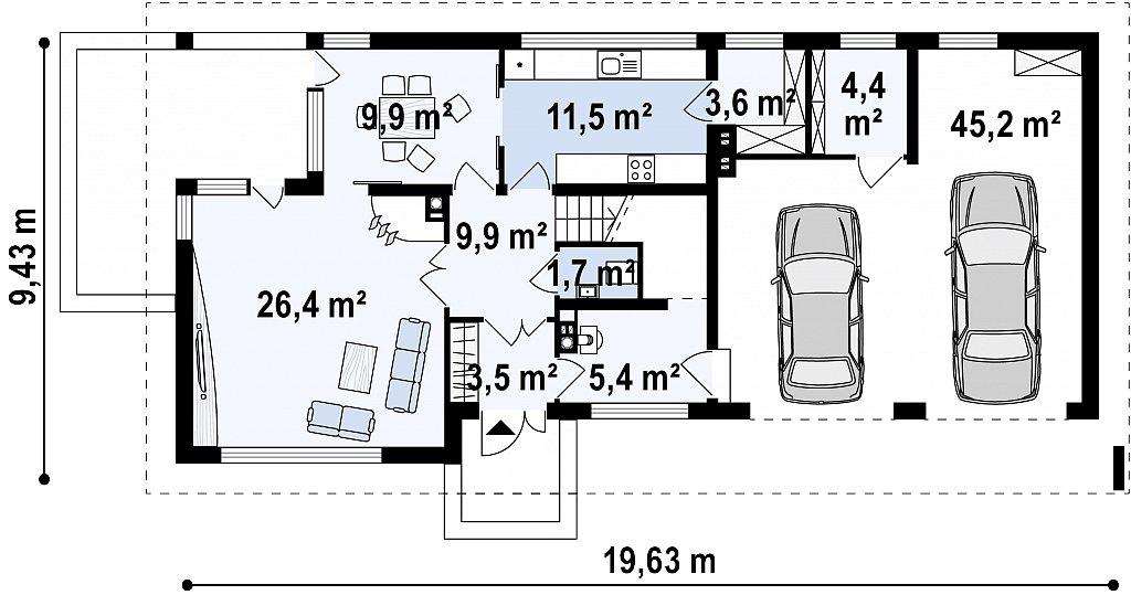 Первый этаж 73,3 / 122,9 м² дома Zx8 gp2