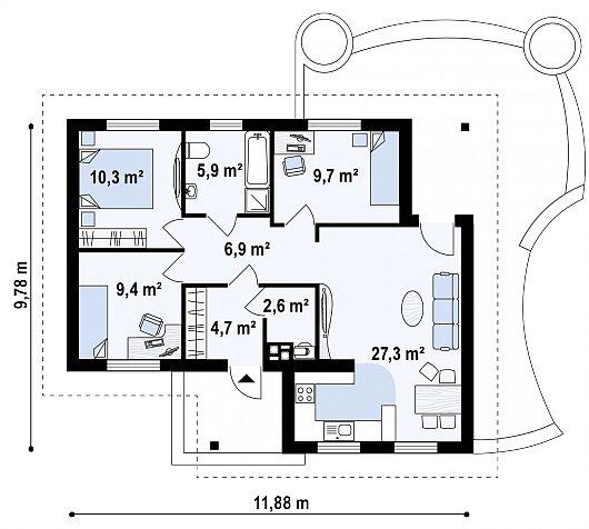 Первый этаж дома Z15