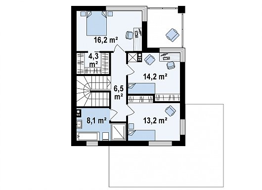 Второй этаж 62,5 м² дома Z156A minus