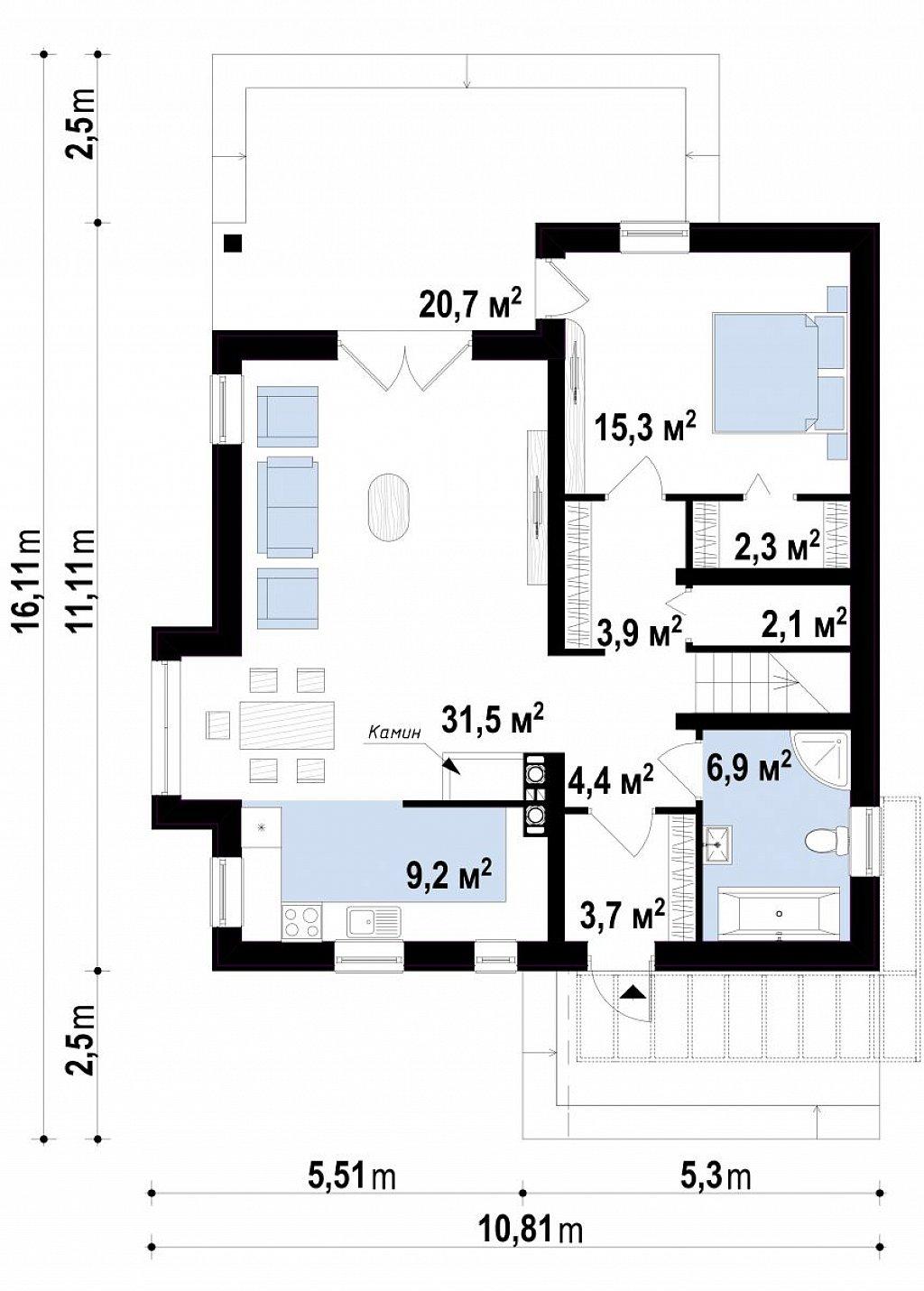 Первый этаж дома Z166