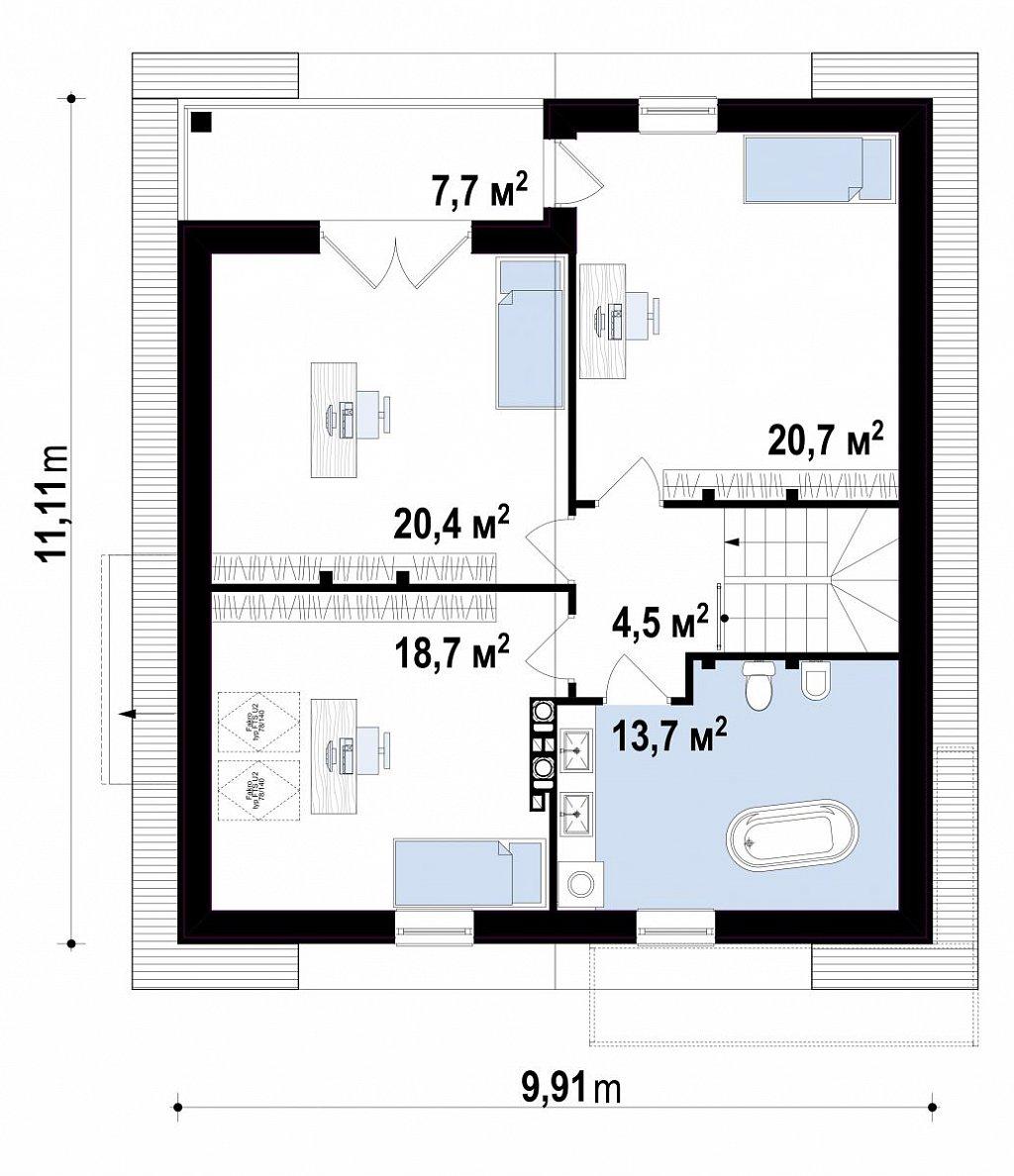 Второй этаж  дома Z166