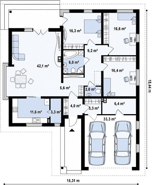Первый этаж 142,8 / 176,1 м² дома Z200 L +100