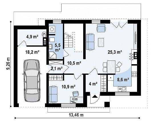 Первый этаж 89,0 м² дома Z29 minus
