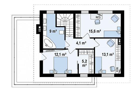 Второй этаж 59,1 м² дома Z29 minus