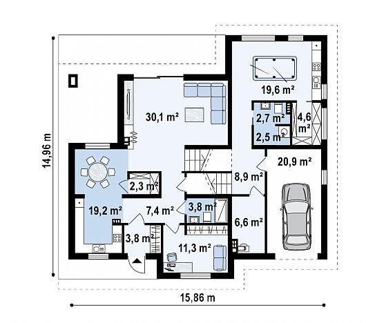 Первый этаж 116,3 / 143,9 м² дома Z337