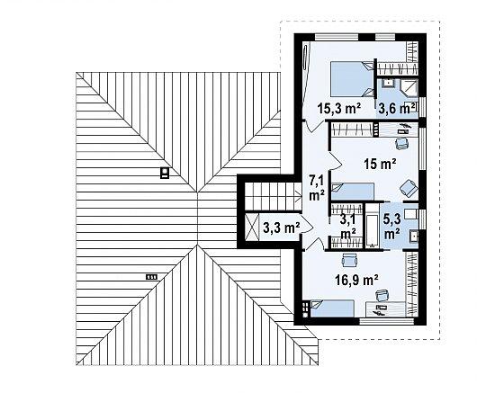Второй этаж 69,6 м² дома Z337