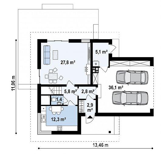 Первый этаж 93,1 м² дома Z350