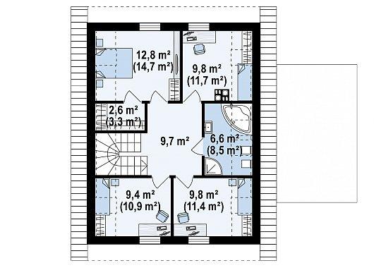 Второй этаж 60,7 / 70,2 м² дома Z350