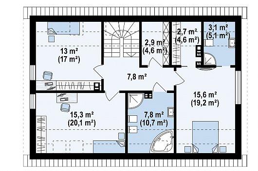 Второй этаж 68,2 / 89,1 м² дома Z353