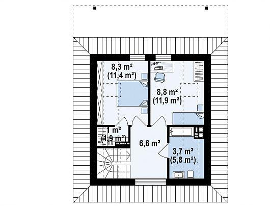 Второй этаж 28,4 / 37,6 м² дома Z362