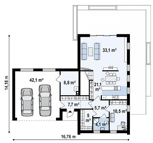 Первый этаж 93,8 / 135,9 м² дома Z373