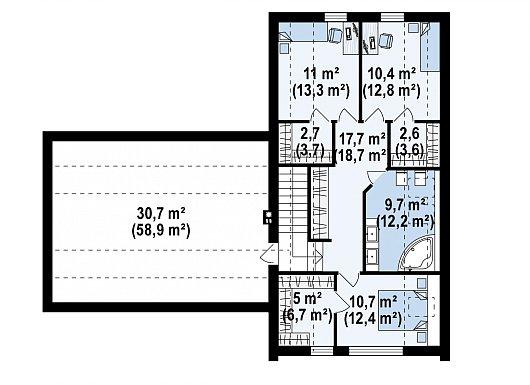 Второй этаж 69,8 / 83,4 м² дома Z373