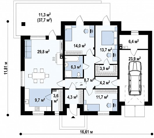 Первый этаж 151,6 м² дома Z375