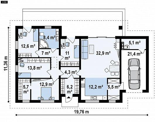 Первый этаж 139,5 м² дома Z380