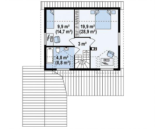 Второй этаж 37,6 / 55,3 м² дома Z39 B GF lk