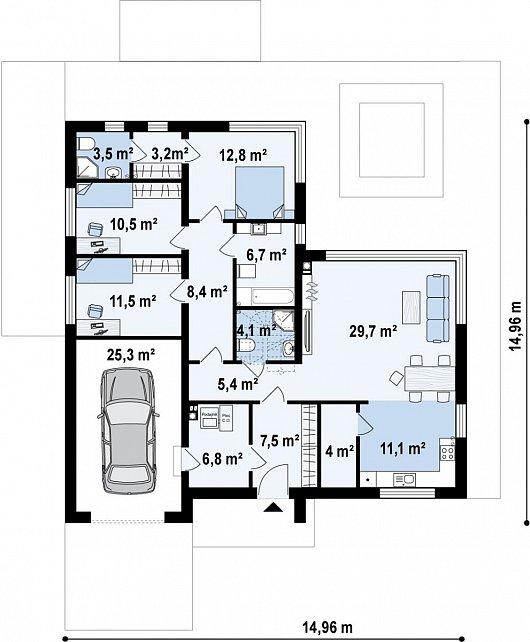 Первый этаж 123,8 м² дома Z390