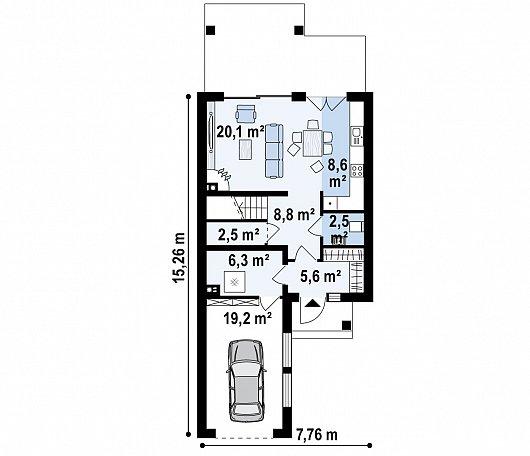 Первый этаж 72,7 м² дома Z398