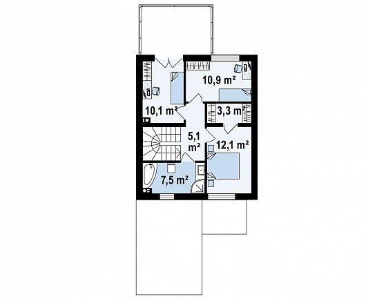 Второй этаж 48,1 м² дома Z398