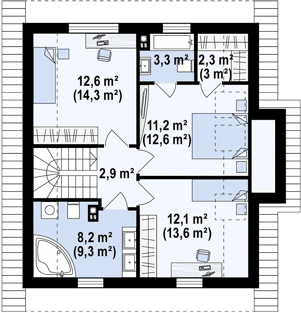 Второй этаж 52,6 / 59,0 м² дома Z44 A