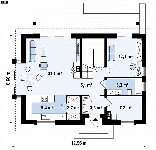 Первый этаж 79,4м²  дома Z95 A