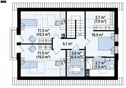 Второй этаж 47,4/76,5м²  дома Z95 A