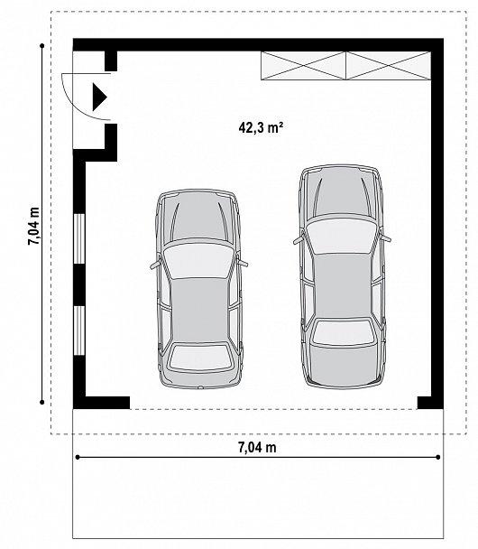Первый этаж 42,3 м² гаража Zg15