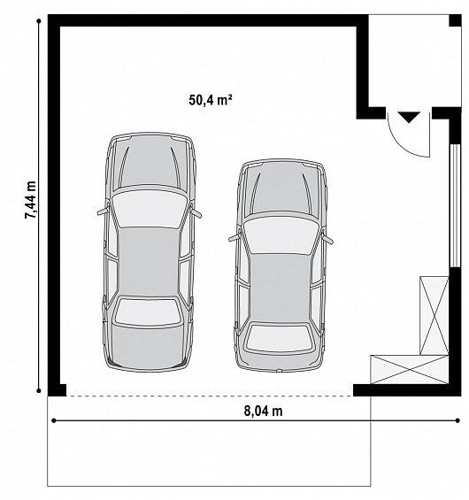 Первый этаж 50,4 м² гаража Zg22