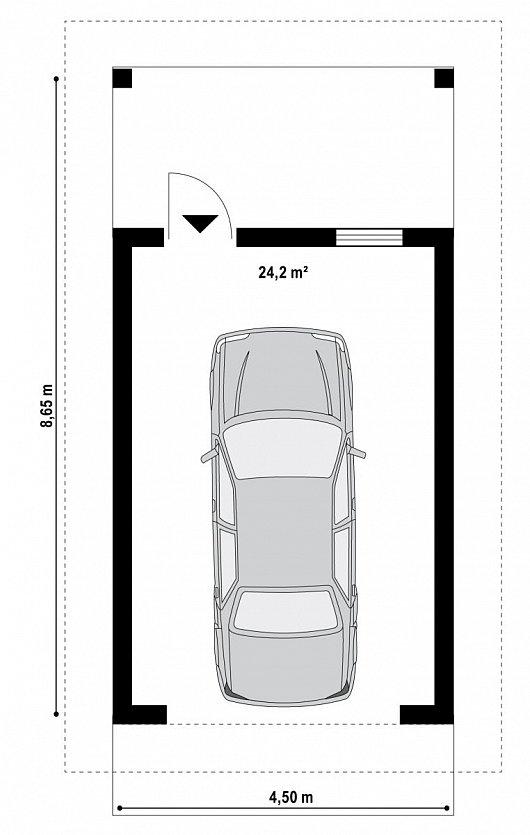 Первый этаж 24,2 м² гаража Zg7