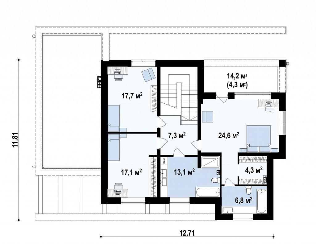 Второй этаж 90,8м² дома Zx109