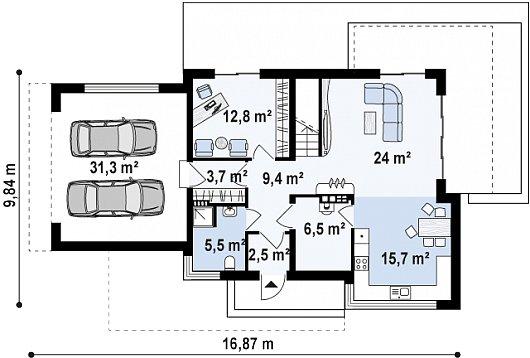 Первый этаж 111,4м² дома Zx114
