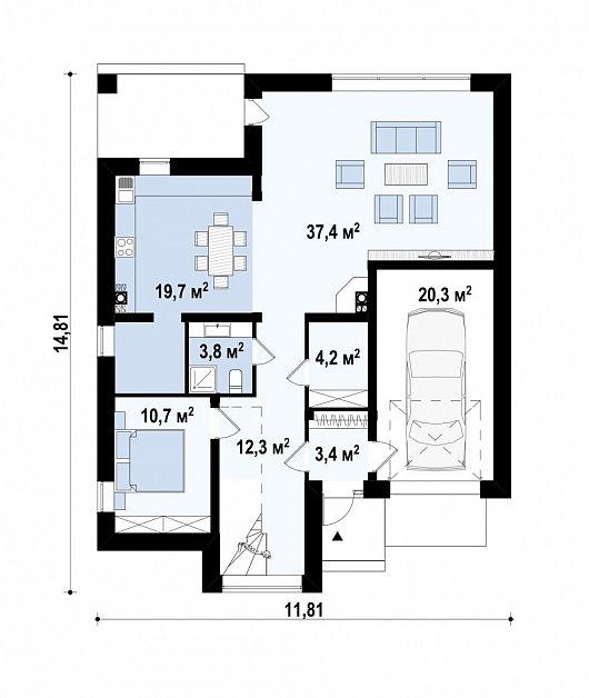 Первый этаж 114,0м² дома Zx124