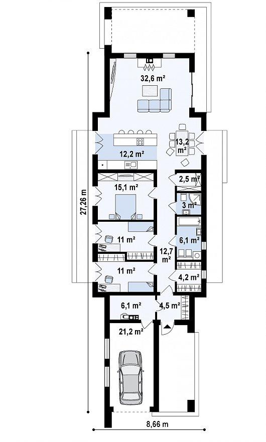 Первый этаж 154,2 м² дома Zx129