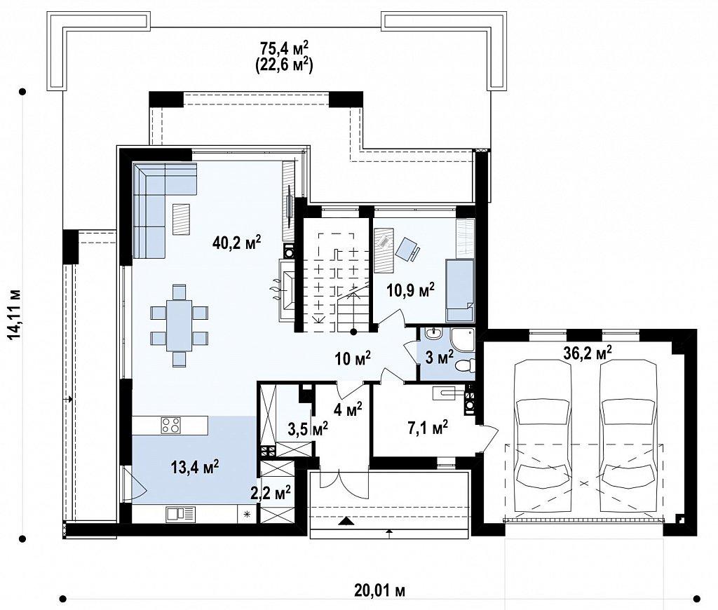Первый этаж 130,5 м²   дома Zx139