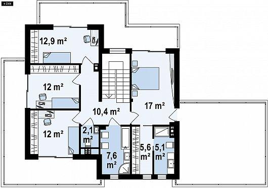 Второй этаж 83,6 м² дома Zx139