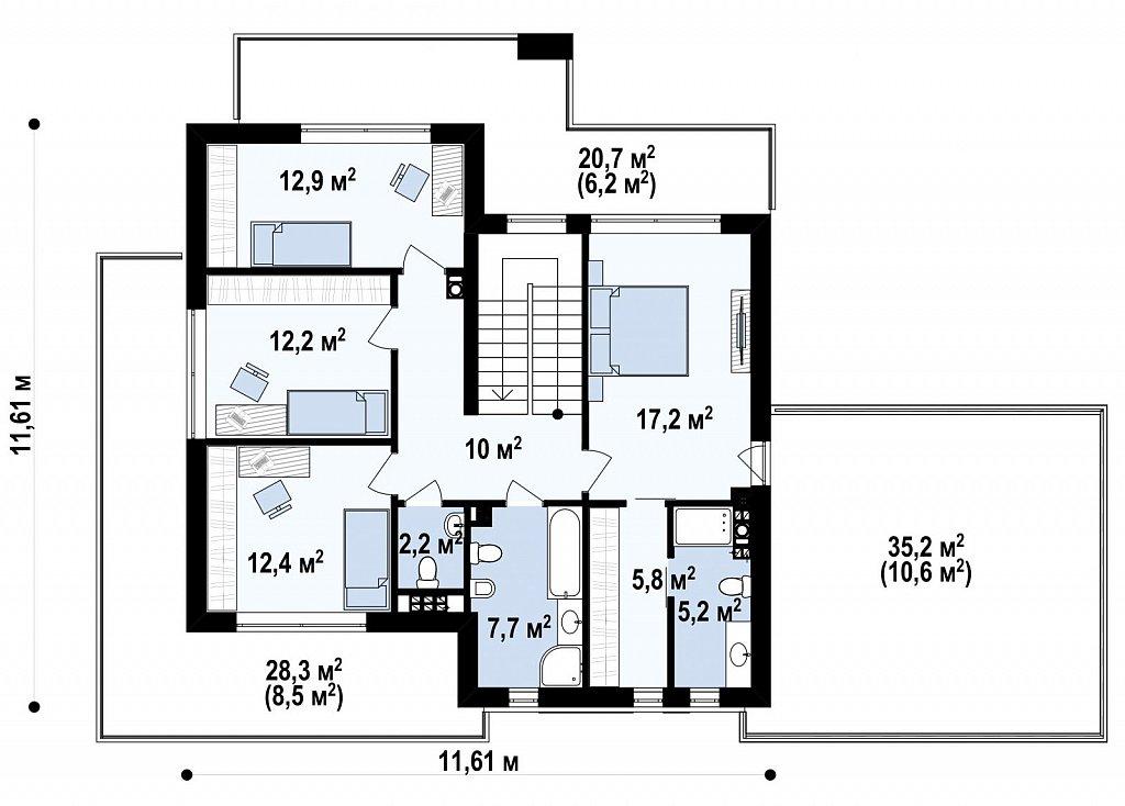 Второй этаж 85,5 м² дома Zx139