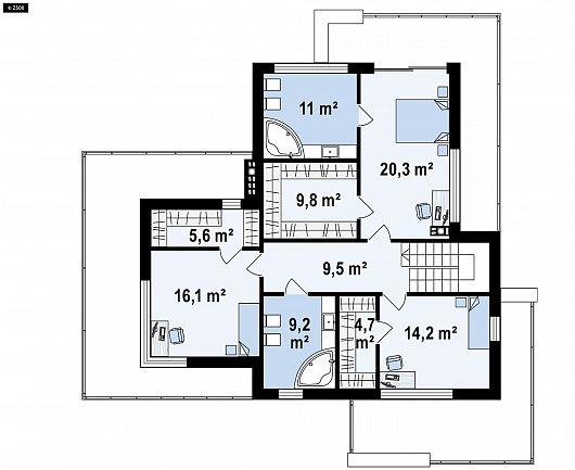 Второй этаж 88,6 м² дома Zx182