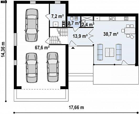Первый этаж 125,8 м² дома Zx190