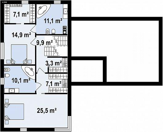 Второй этаж 88,0 м² дома Zx190