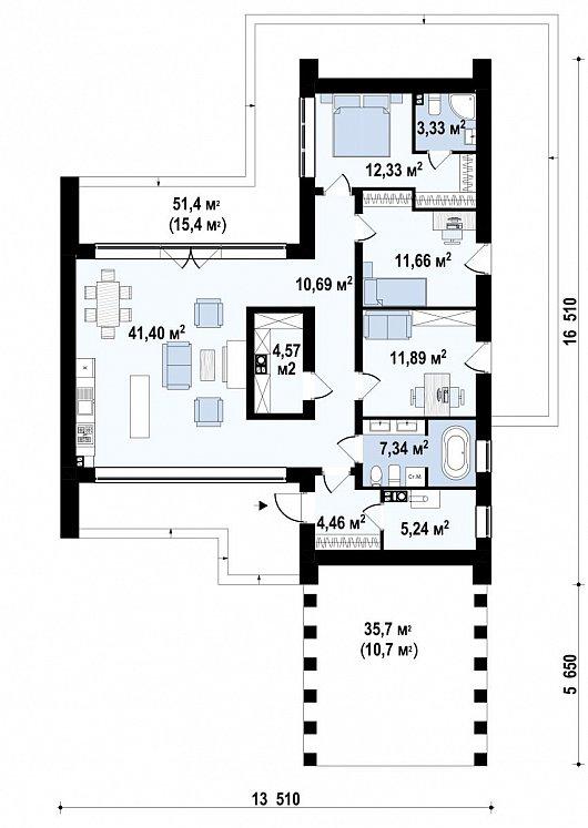 Первый этаж 139,4 м² дома Zx201