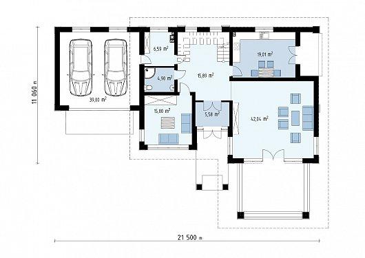 Первый этаж 109,8 / 148,8 м² дома Zx201