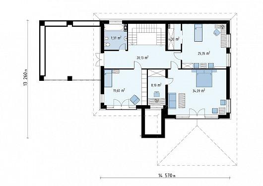 Второй этаж 118,9 м² дома Zx201