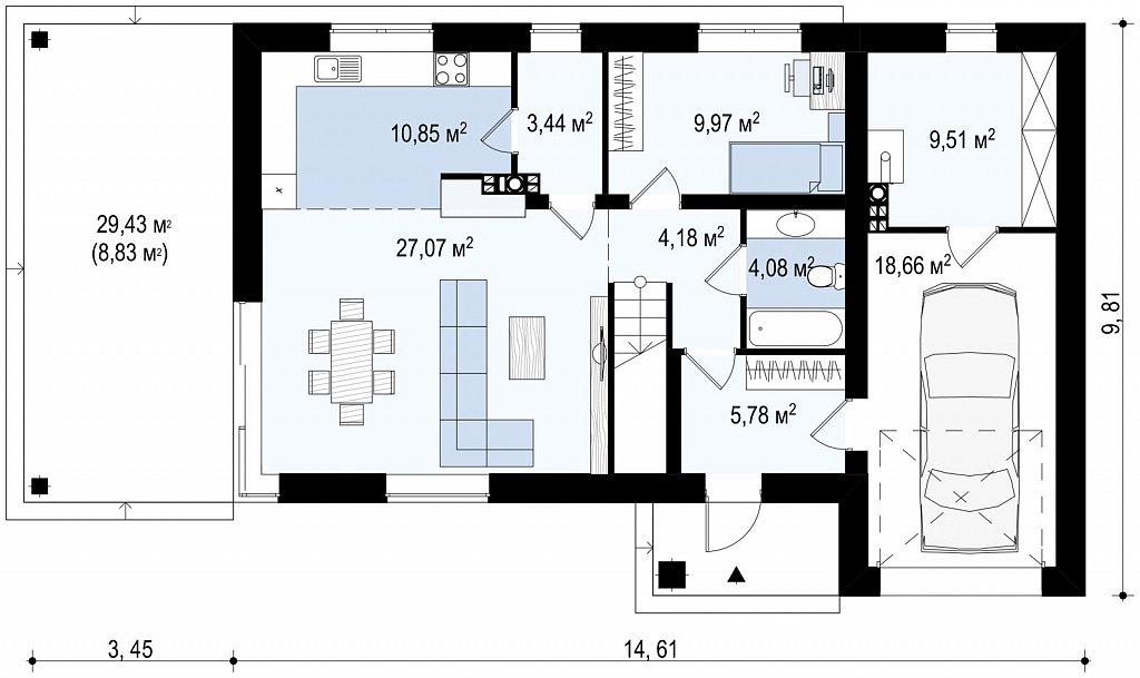 Первый этаж 97,0 м² дома Zx63 B +