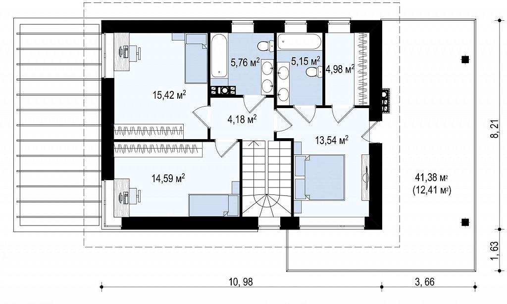 Второй этаж 81,2 м² дома Zx63 B +
