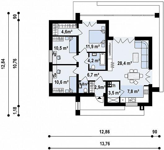 Первый этаж 91,8 м дома Zx77 A