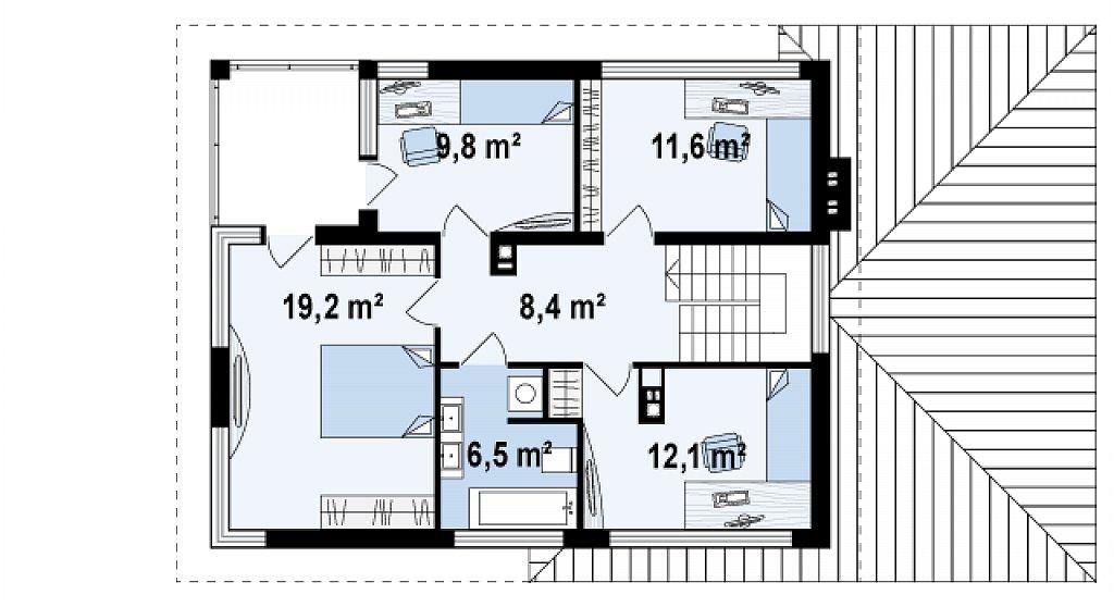 Второй этаж 67,6 м² дома Zx8