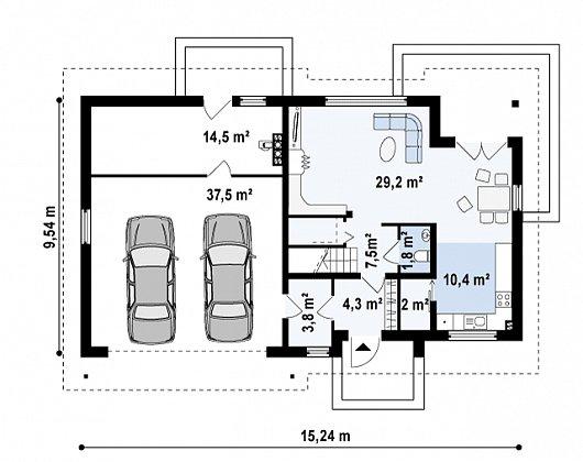Первый этаж 59,0 / 111,0 м² дома Z172 gl2
