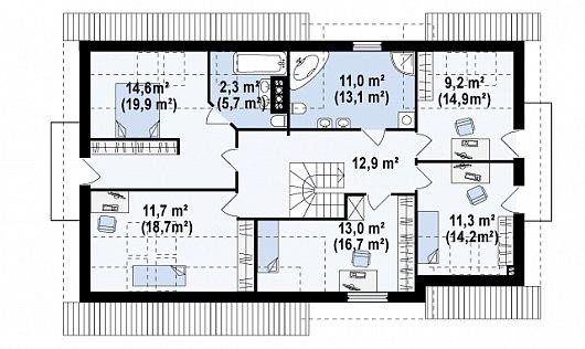 Второй этаж 86,0 / 116,1 м² дома Z172 gl2