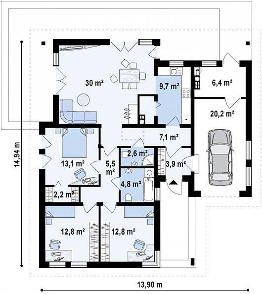 Первый этаж 104,6 / 131,1 м² дома Z204 Gp
