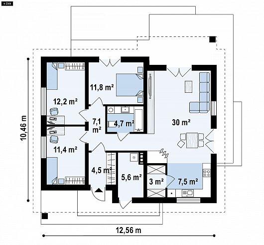 Первый этаж 96,8 м² дома Z316 A