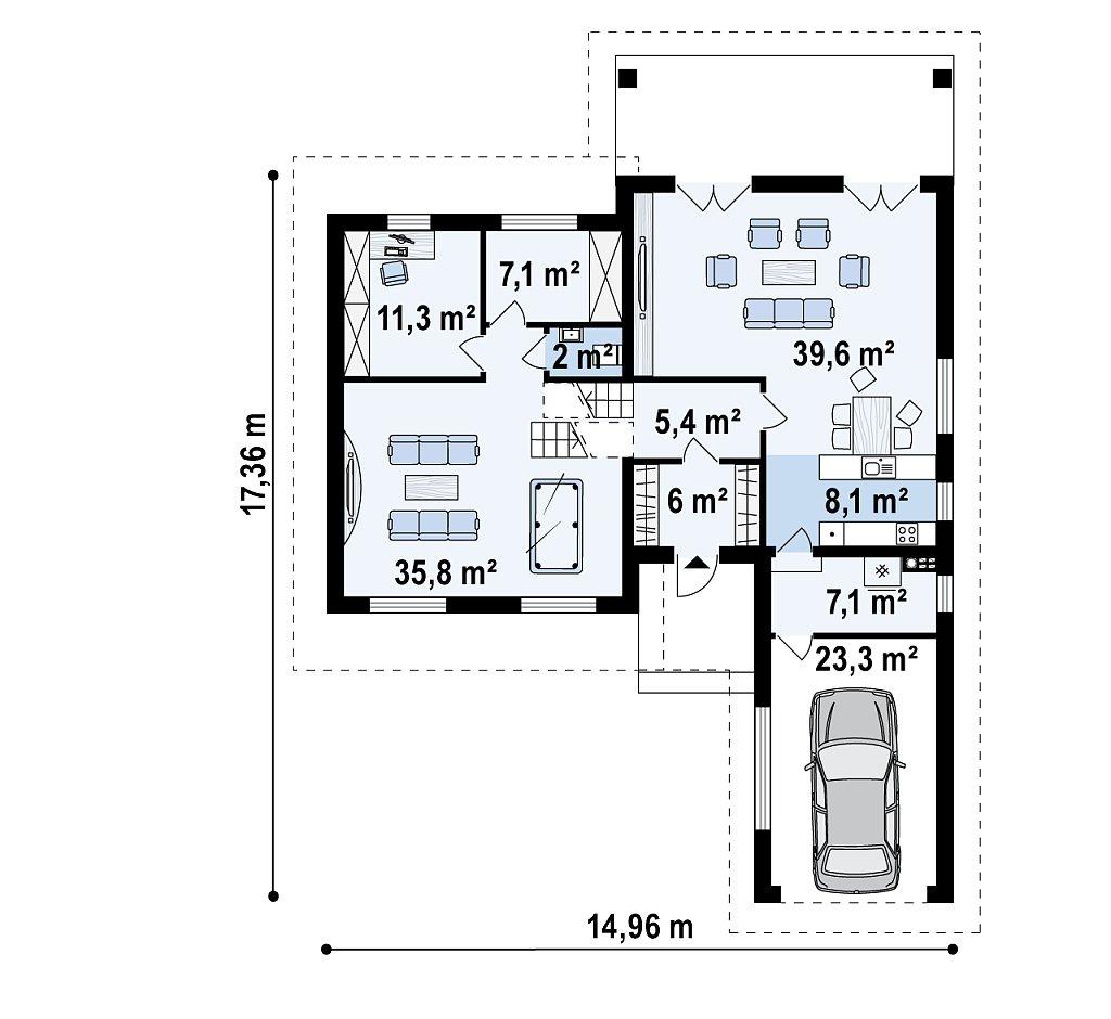 Первый этаж 144,6 м² дома Z335